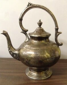 Vtg Sheridan Silver On Copper Tea Kettle With Hinged Lid Lovely Patina