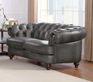72 Chesterfield Sofa Love Seat Gray Premium Top Grain Leather Restoration Style