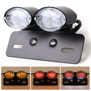 Motorcycle Tail Integrated Light Led Plate Mount Turn Signal Universal Fit Black