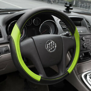 15 Car Truck Steering Wheel Cover Pu Leather Universal Fit Protection M Green