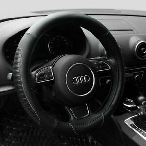 15 Car Steering Wheel Cover Pu Leather Universal Fit Protection M Black