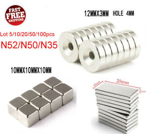 5 100pcs N52 N50 N35 Super Strong Countersunk Rare Earth Neodymium Ring Magnets