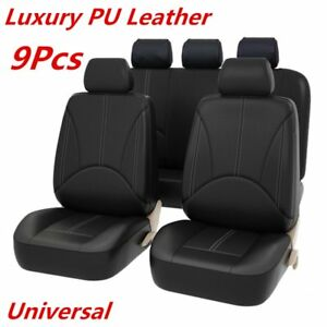 9pcs Black Pu Leather Car Seat Cover Full Seat Cover Set Mat Protector