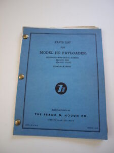 Ih Hough Ho Front end Wheel Pay Loader Tractor Parts Catalog Manual List 22a 23a