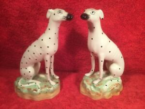 Figurines Christmas Antique Staffordshire Spotted Dogs Figurines Em263