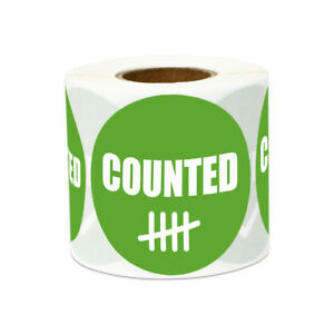 Counted Letter Text Stickers Confirm Inventory Warehouse Labels 2 Round 10pk