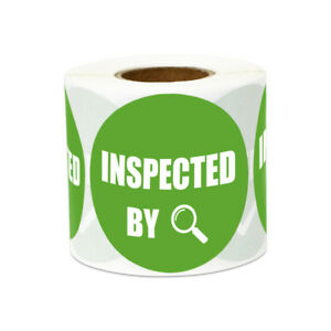 2 Round Circle Inspected By Stickers Inventory Inspection Warehouse Labels 10pk