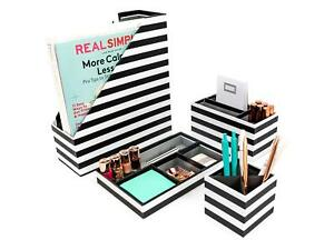 Blu Monaco Black White Stripes Desk Organizers And Accessories 4 Piece Set