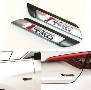 2pcs 3d Trd Racing Black Side Wing Car Truck Badge Fender Emblem Decal Sticker