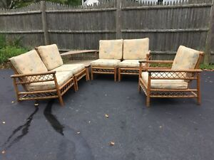 Vintage 1950s Rattan Porch Indoor Patio Furniture