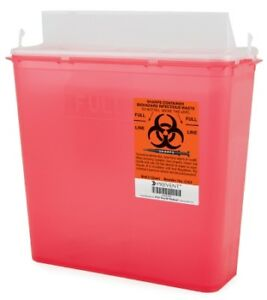 new Deal Prevent Sharps Container 2 piece 5 Qt Red Case Of 20 ships Free