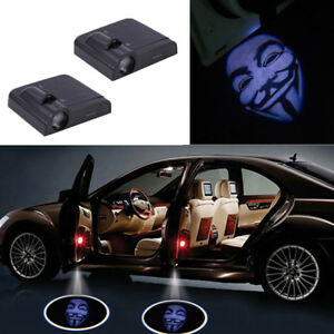 2x Car Door Led Lamp Welcome Projector Wireless Laser Spotlight V For Vendetta