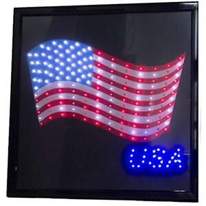 Printed American Commercial Lighting Flag Usa 19 X Led Sign With Hang Chain