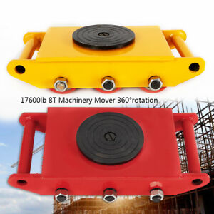 8t 17600lb Heavy Duty Machine Dolly Skate Roller Machinery Mover 360 Rotation