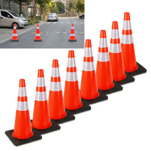 28 Inch Safety Traffic Cones Fluorescent Orange Reflective Collar 8pcs set