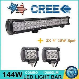 23inch 144w Led Light Bar Combo 4 18w Pods Off Road 4wd Jeep Ford 21 22 Adjust