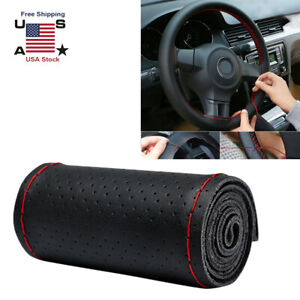 15 38cm Diy Car Steering Wheel Cover Leather With Needle And Thread Black Red