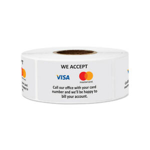 We Accept Credit Cards Sign Stickers Retail Store Market Labels 2 x1 10pk