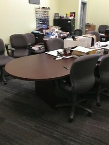 conference Room Table 12 Mahogany Finish And 12 Steelcase Grey Chairs