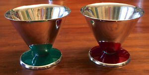 2 Conical Tumblers David Andersen Norway Sterling Silver Green Red Enamel Base