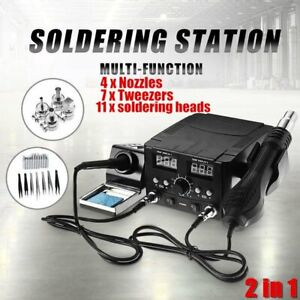3 In1 Lcd Solder Station Soldering Iron Desoldering Rework Hot Air Heater Kit Ek