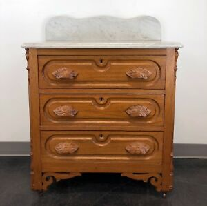 Antique Victorian Oak Marble Top Commode Wash Stand