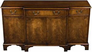 Vintage Antique Style Breakfront Mahogany Console Cabinet Sideboard Buffet Fs