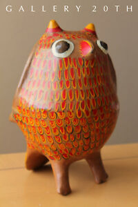 Cute Mid Century Modern Pottery Owl Sculpture 60s 50s Decor Accent Eames Mexico