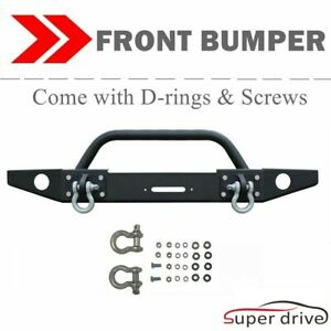 Textured Front Bumper Fit 2007 2018 Jeep Wrangler Jk W Winch Plate Led Light Tab