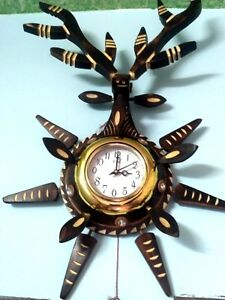Antique Pcs Of Full Handmade Portable Wooden Wall Clock Only One Unique Design
