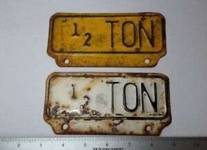 Vintage 1 2 Ton License Plate Topper Tag Accessory Pickup Truck Ford Chevy Dodge
