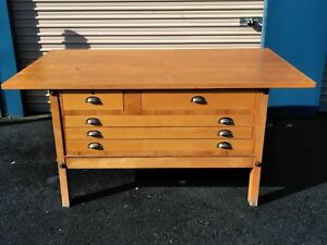 Wood Blueprint Drawer File Cabinet Drafting Desk Hamilton Local Pick Up