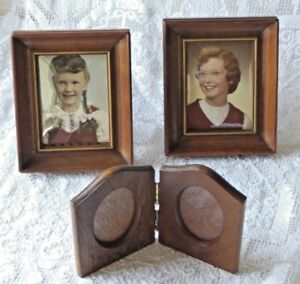 Vintage Wooden Picture Frames W Glass Purple Velvet Rustic Lot Of 3 Retro