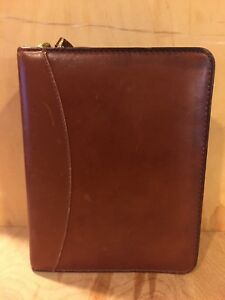 Vintage Franklin Quest Brown Full Grain Aniline Leather Compact Planner Binder