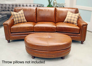 New Art Deco Curved Sofa Couch Best Top Grain Leather Modern Restoration Style