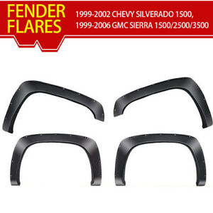 4pieces Bolt riveted Style Black Fender Flares Fits For 99 06 Chevy Silverado