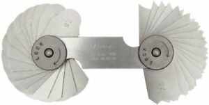 Mitutoyo 186 106 Radius Gage Set 32 Pairs Of Leaves 7 5mm To 15mm By 0 5mm