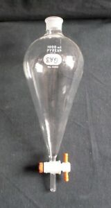 Pyrex 1000ml Glass Squibb Separatory Funnel And Ptfe Stopcock Broken 6402 1l