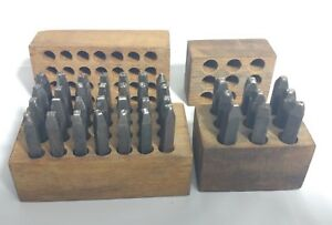 Vintage Young Brothers 1 4 Number Unbranded Letter Steel Stamps Aged Wood Box