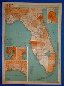Vintage 1934 Florida Map Old Antique Original Large 20x28 Atlas Map 102318