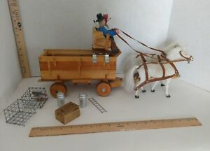 Vintage Folk Art Wood Wagon Horses People And Accessories