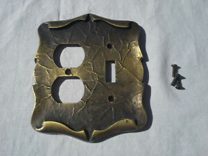 Vintage Amerock Carriage House Brass Light Switch Outlet Combo Cover Steampunk