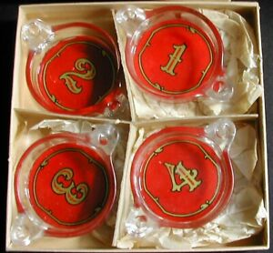 Art Deco Bridge Card Playing Cigarette Ashtray Set For Four Original Box