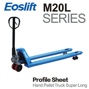 Eoslift M20l Extra Long Hand Pallet Truck Fork Size 27 X 71 Capacity 4400 Lbs
