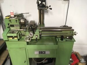 Very Nice Emco Maximat V10 p Metal Lathe Vertical Mill Combo Stand Accessories
