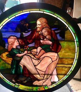 Rare 60 Antique Stained Leaded Glass Round Window Jesus Children Drapery Glass