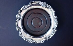 King Francis Silverplate Wine Coaster Bowl By Reed Barton Wood Insert
