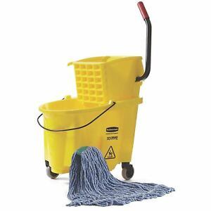 Rubbermaid Commercial Wavebreak Mop Bucket With Wringer Mop Head Combo 26 Qt