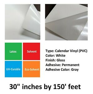 3 5mil White Glossy Self adhesive Cold Gray Permanent Vinyl Film Roll 30 X 150