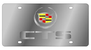 New Cadillac Mirrored Cts Logo Stainless Steel License Plate
